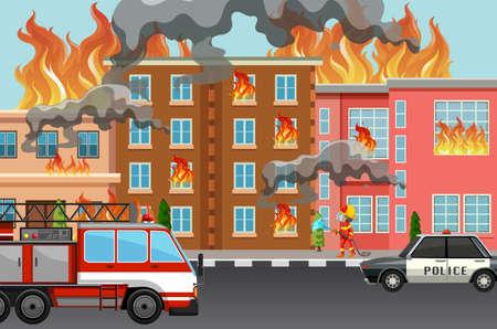 Incendie dans l'illustration de la ville