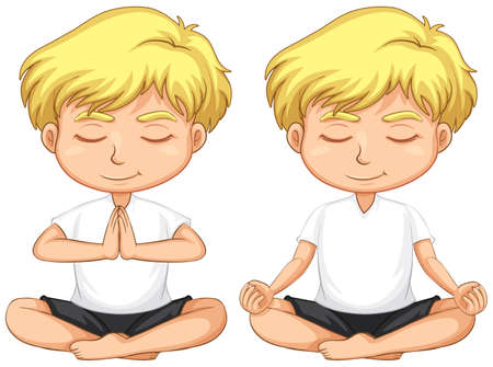 Young blond boy meditating illustration