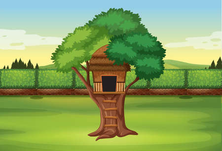 A tree house in nature illustration