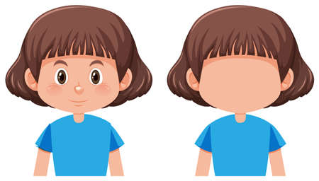A bob hair girl character illustration