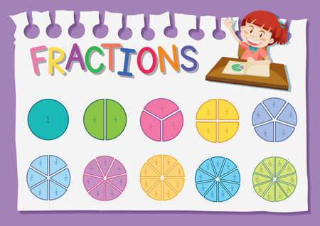 Math fraction education worksheet illustration