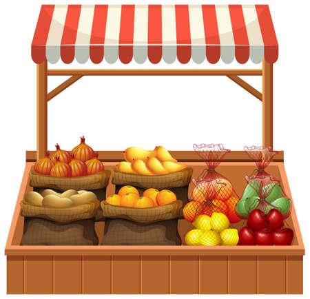 Isolated fresh vegetable stall illustration