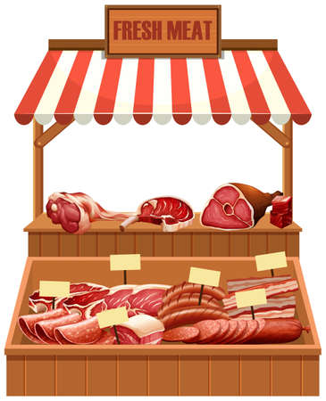 Isolated fresh meat stall illustration