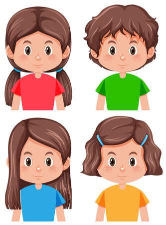 Set of brunette female character illustration