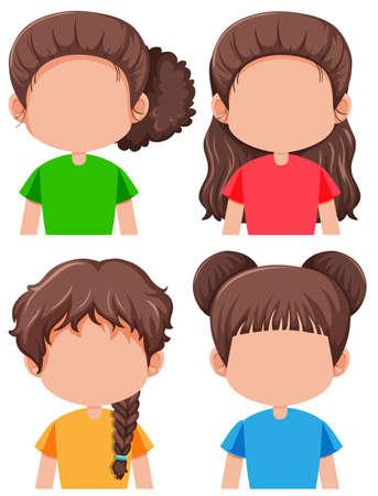 Ensemble d'illustration de personnage féminin brune