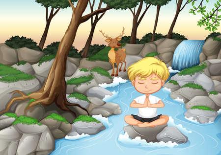Un niño medita en la ilustración de la naturaleza.