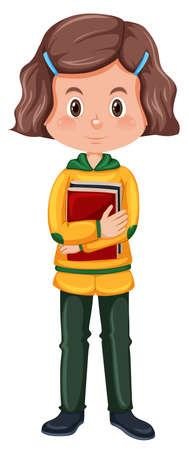 A brunette hair student charatcer illustration Illustration
