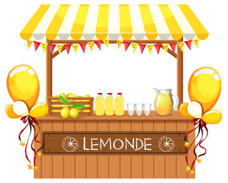 A wooden lemonade shop illustration