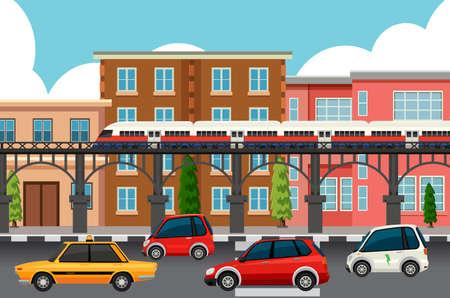 Modern town transportation systems illustration