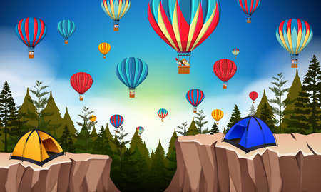 Hot air balloon in nature landscape illustration
