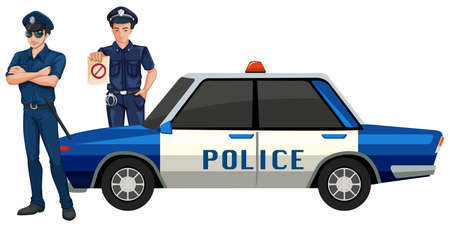 Police man with car illustration Illustration