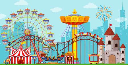 Fun amusement park background illustration