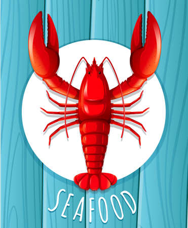 A red lobster on the plate illustration
