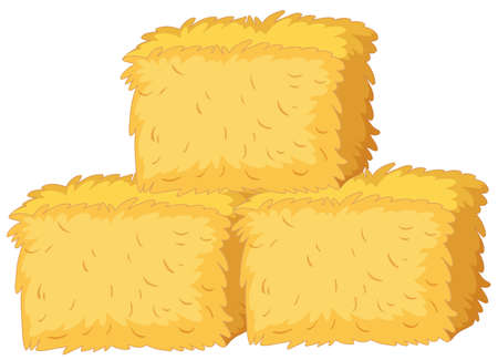 Bales of straw on white background illustration