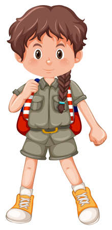 A camping girl character illustration