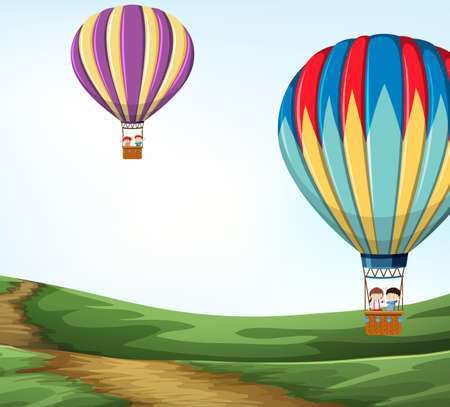Hot air balloon in nature illustration 向量圖像