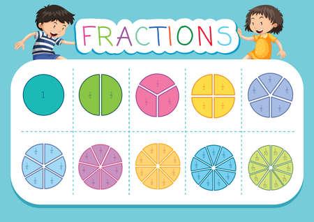 Ilustración de fondo de hoja de cálculo de fracción de matemáticas