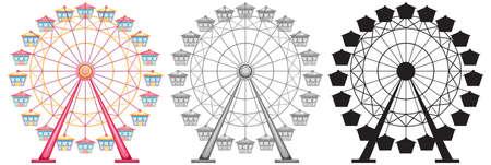Set of ferris wheel on white backgrond illustration Vektoros illusztráció