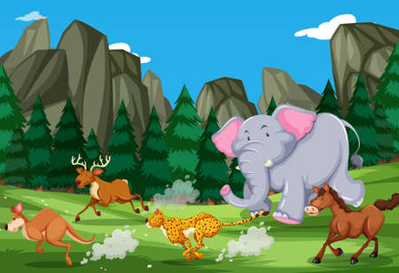 Animals run in the nature illustration Stock Illustratie