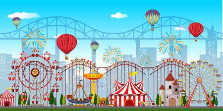 An amusement park background illustration