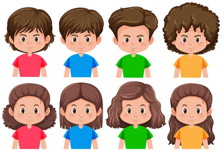 Set of brunette male and female character illustration
