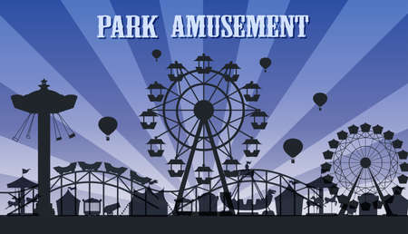 A silhouette amusement park template illustration Çizim