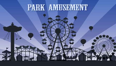 Una ilustración de plantilla de parque de atracciones de silueta
