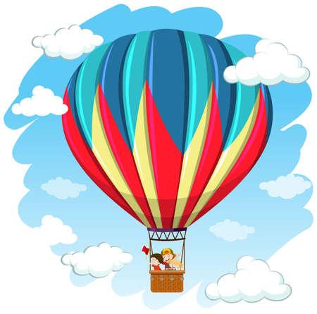 Children in hot air balloon illustration