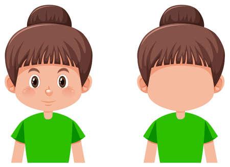Ensemble de fille avec illustration de cheveux chignon brune