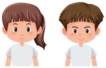 Set of boy and girl character illustration