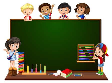 Enfants avec illustration de bannière de tableau noir