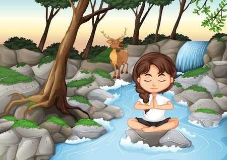 Ein Mädchen meditiert in der Naturillustration Vektorgrafik