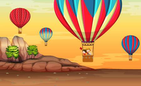 Hot air balloon in desert illustration