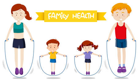 A family workout together illustration