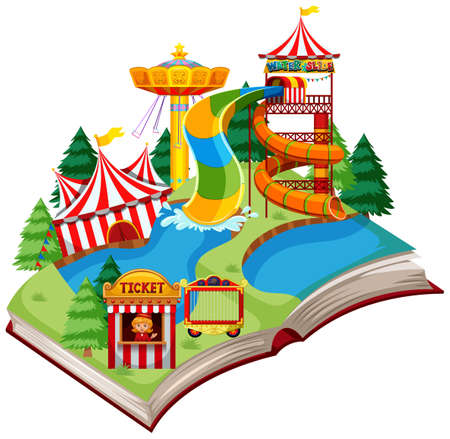 Open book fun park theme illustration