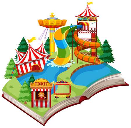 Open book fun park theme illustration
