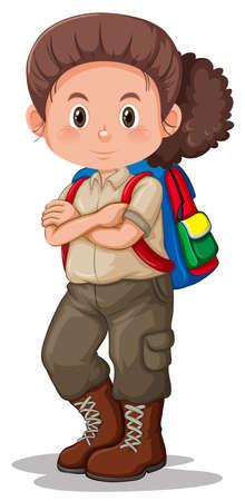Una ilustración de personaje de girl scout Ilustración de vector