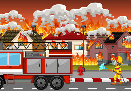 Fire disaster at village illustration Illusztráció