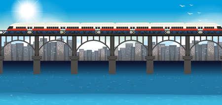 Modern train urban transportation illustration Illustration