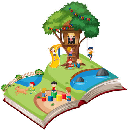 Open book playground theme illustration