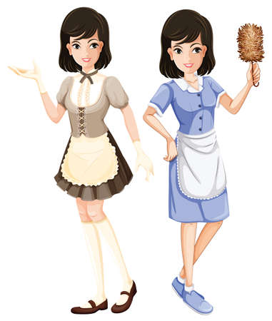 Maid character with uniform illustration