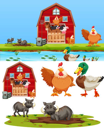 Satz der Bauernhofelementillustration Vektorgrafik