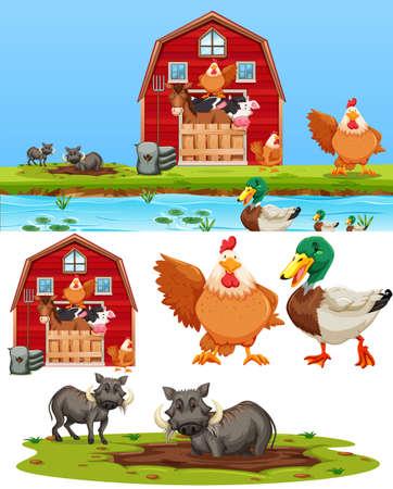 Set di illustrazione dell'elemento della fattoria farm Vettoriali