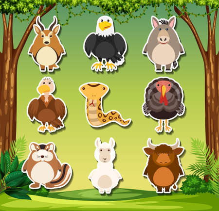 Set of wild animals sticker illustration