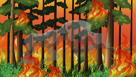 A wildfire disaster background illustration
