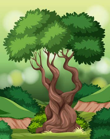 A tree in nature scene illustration