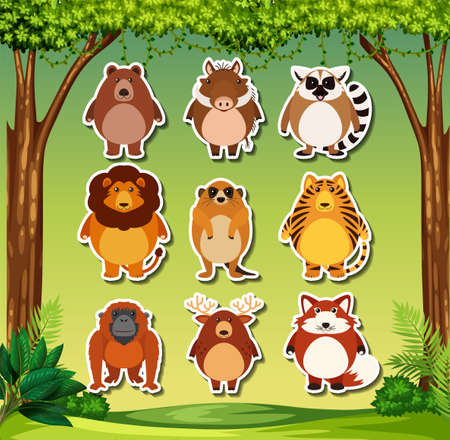 Set of wils animal sticker illustration Illustration