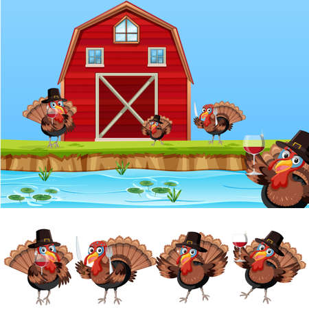 Thanksgiving turkey at farmland illustration Illustration