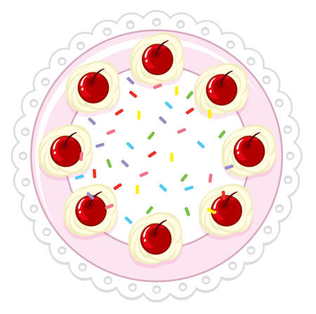 A cherry cake on white background illustration