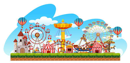 Fun fair amusement scene illustration Иллюстрация